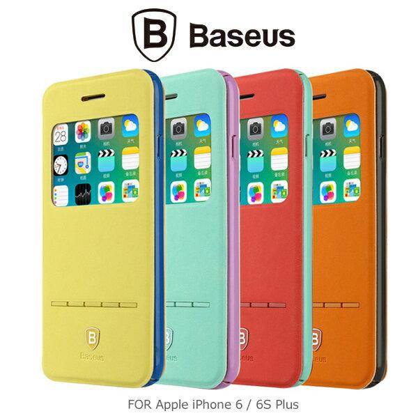 強尼拍賣~ BASEUS 倍思 Apple iPhone 6/6 Plus 簡約皮套(青春款) 開窗側翻皮套 通用6S
