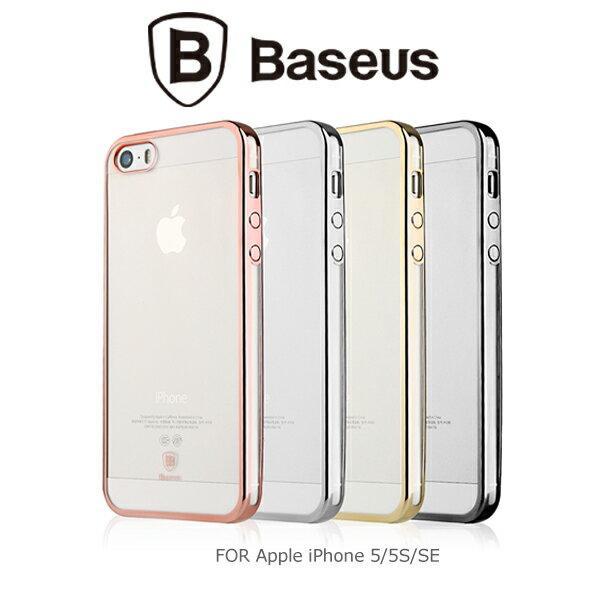 強尼拍賣~ BASEUS 倍思 Apple iPhone SE/5/5S 明金 TPU 套 軟套 保護殼 電鍍殼-金色