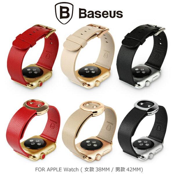 強尼拍賣~ BASEUS 倍思 Apple Watch (38mm / 42mm) 名仕真皮錶帶 男款 女款