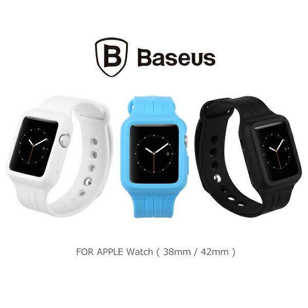 強尼拍賣~ BASEUS 倍思 Apple Watch 38mm / 42mm 時尚運動錶帶(藍,白)