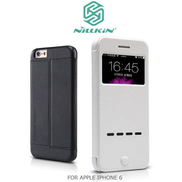 強尼拍賣~ NILLKIN APPLE IPHONE 6 4.7吋 宋系列開窗皮套 可站立皮套 支架皮套(白)