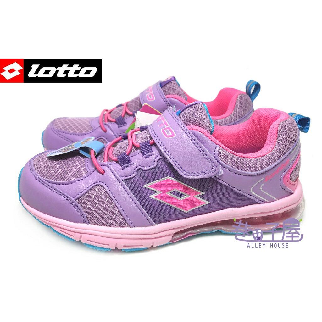 【巷子屋】義大利第一品牌-LOTTO 女童亮彩輕量氣墊運動慢跑鞋 [1357] 紫/桃 超值價$450