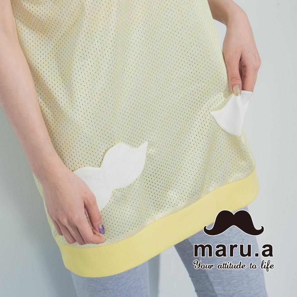 【maru.a】街頭風拼接長版T-shirt 7321317 3