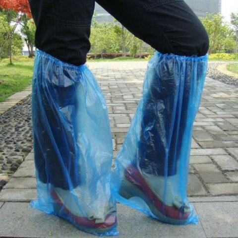 《意生》長筒輕便型拋棄型鞋套 腳套 雨鞋塑膠鞋套防水鞋套 防塵鞋套過膝防雨套高筒加高加長