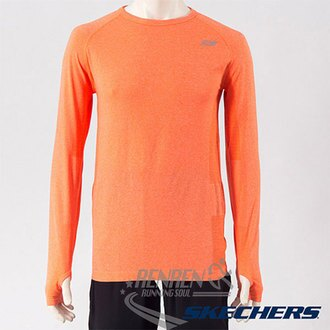 SKECHERS 男長袖衣(橘色) 排汗快乾 輕量舒適 反光LOGO