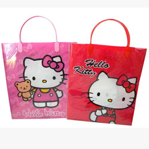 【真愛日本】15081000023A4塑膠壓紋手提袋-2色  三麗鷗 Hello Kitty 凱蒂貓   提袋  外出袋