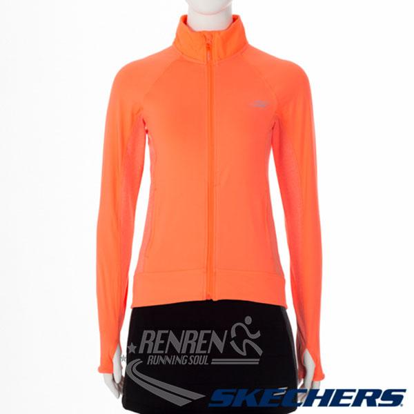 SKECHERS女拉鍊外套(橘)排汗快乾運動休閒柔軟材質