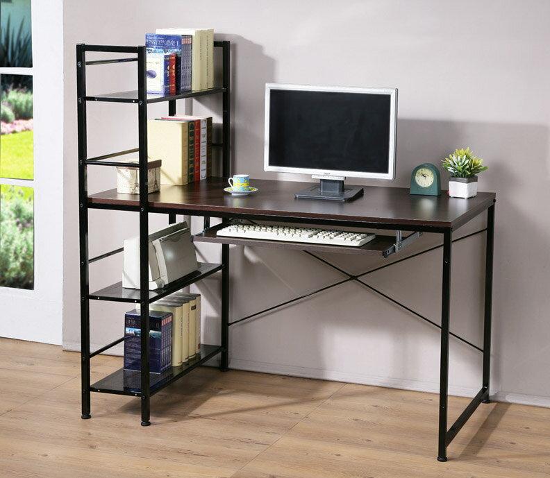 加深60防潑水層架工作桌 書桌 電腦桌 (附一鍵盤) 兩色【馥葉】【型號DE1230-K 】可加購玻璃