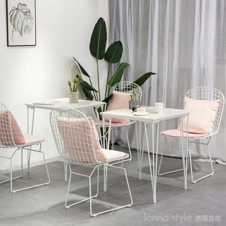 北歐ins甜品奶茶店網紅咖啡廳桌椅組合簡約清新餐飲戶外陽台鐵藝