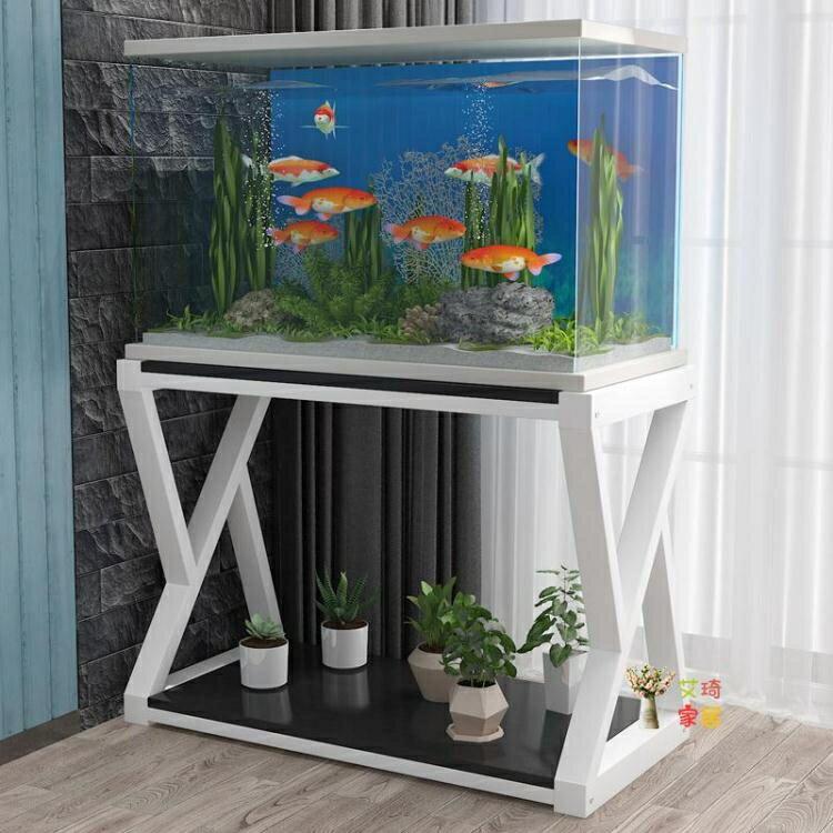 魚缸架 簡約現代鐵藝魚缸底櫃定做儲物架子實木簡易家用小型隔斷魚缸客廳T 8號時光