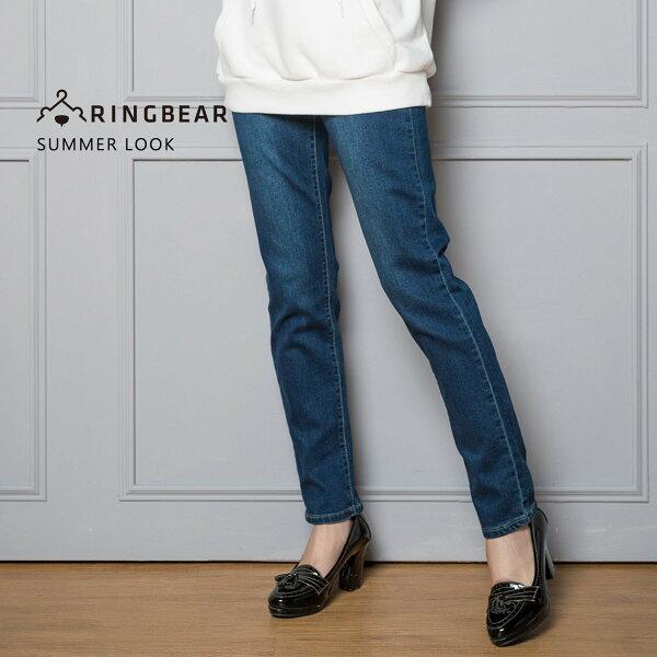 眼圈熊S-7L大小尺碼衣褲專賣:顯瘦--氣質浪漫口袋貼鑽花邊刺繡優雅金蔥裝飾線彈性直筒牛仔褲(藍M-3L)-C91眼圈熊中大尺碼