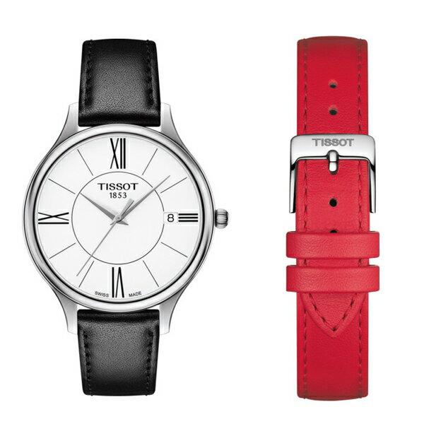 TISSOT 天梭 T1032101601800 BELLA ORA 皮帶石英女腕錶 38mm 0