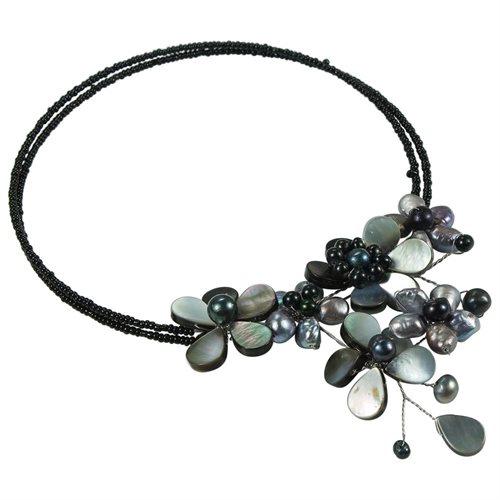 Multi Flower Black Pearl Cluster Choker Wrap Necklace 1