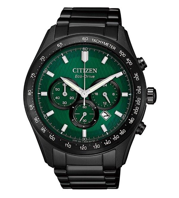 CITIZEN 星辰光動能三眼計時手錶CA4455-86X-綠X黑