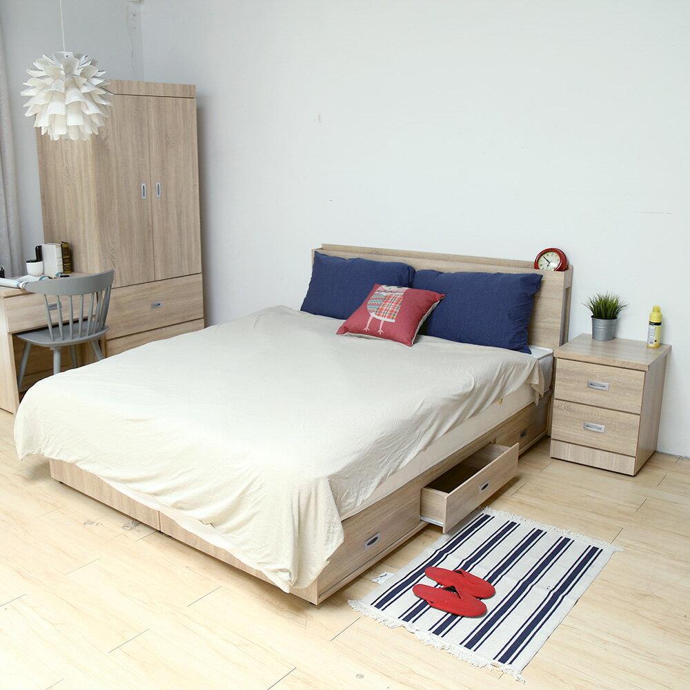 輕旅風系列5尺房間組-4件式-床頭+抽屜床底+床墊+二抽櫃 / DIGNITASII狄尼塔斯  /  H&D 3