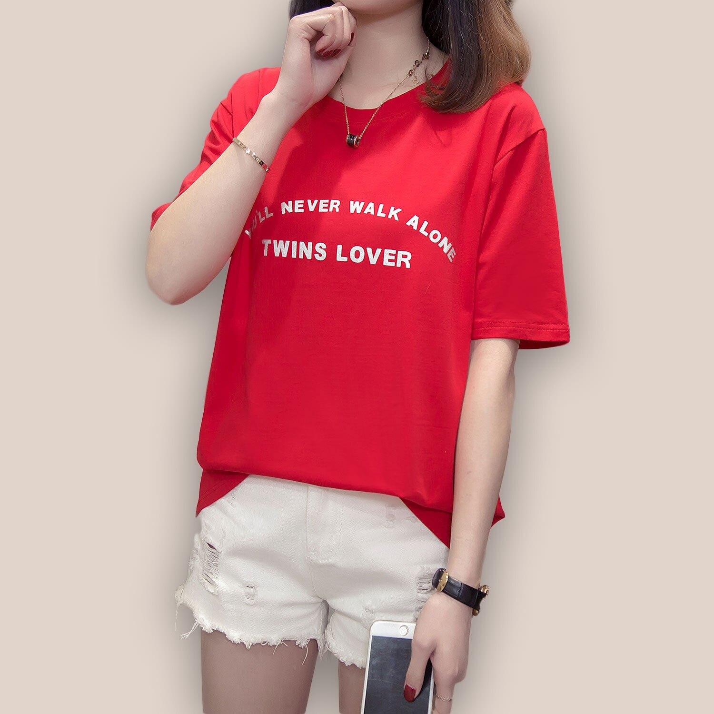 加大T恤--時尚潮流燙銀英文印字休閒百搭圓領短袖T恤(紅.藍M-3L)-T343眼圈熊中大尺碼 0
