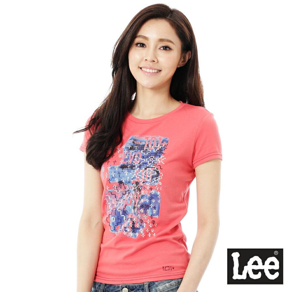 【季末出清4.5折】Lee 短袖101+T恤-女-紅