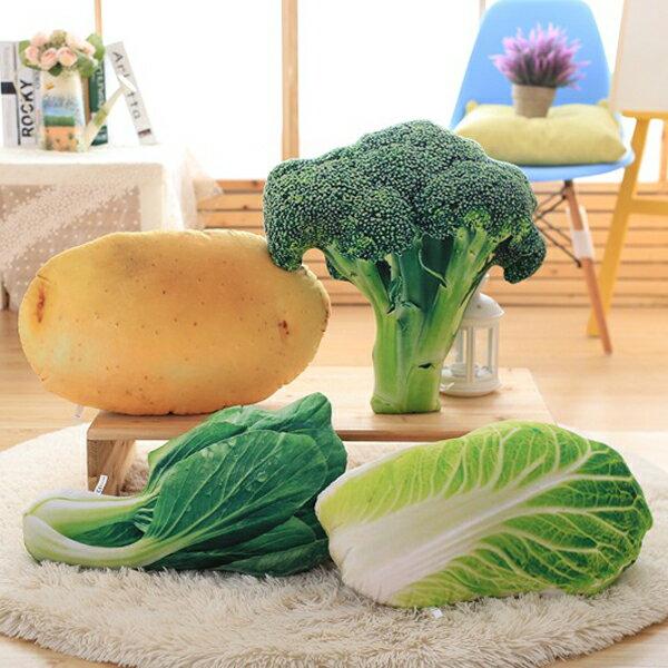 SISI【G6009】創意仿真蔬菜抱枕色彩飽和旅遊必備大白菜午睡枕蔬菜靠墊枕頭生日交換禮物