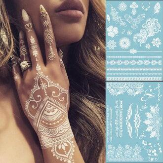 PS Mall 氣質白色蕾絲紋身貼紙 首飾紋身貼紙 防水刺青貼紙 紋身貼 身體彩繪【J1773】