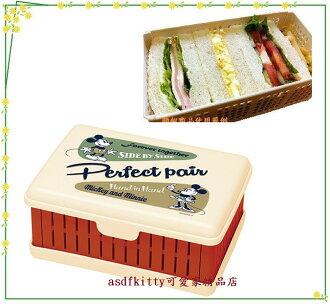 asdfkitty可愛家☆米奇麵包三明治透氣便當盒/收納盒/水果盒-防壓爛-野餐好用-復古-日本製