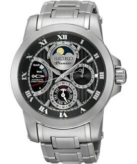 Seiko Premier 5D88-0AG0D(SRX013J1)人動電能月相經典腕錶/黑面41mm