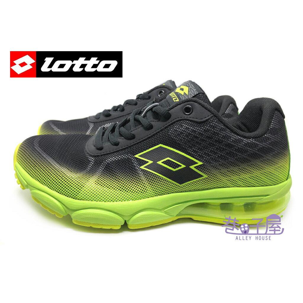 【巷子屋】義大利第一品牌-LOTTO樂得 男款翼行者II氣墊運動慢跑鞋 [3785] 黑螢光綠 超值價$690