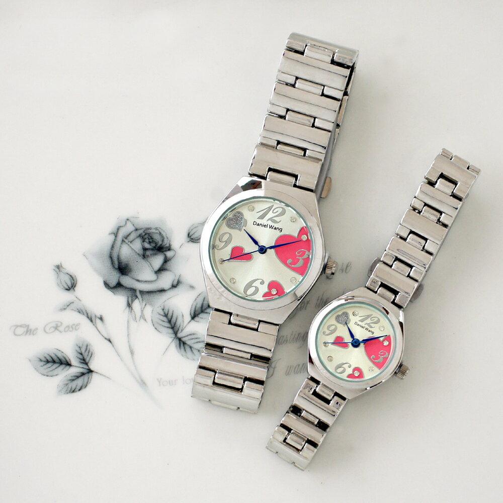 Daniel Wang 3145 浪漫愛心亮鑽刻度銀色鐵帶對錶 2