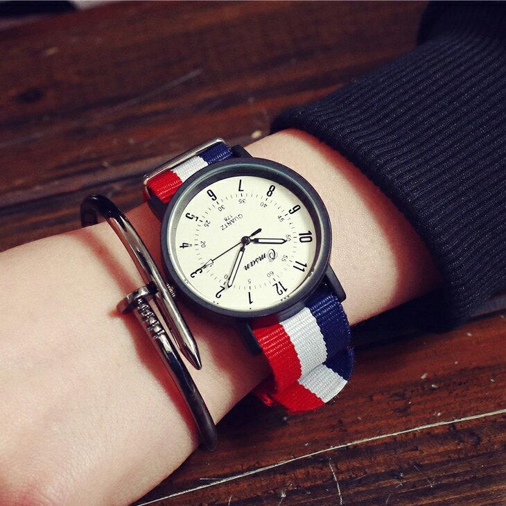 英倫風尼龍條紋大圓錶