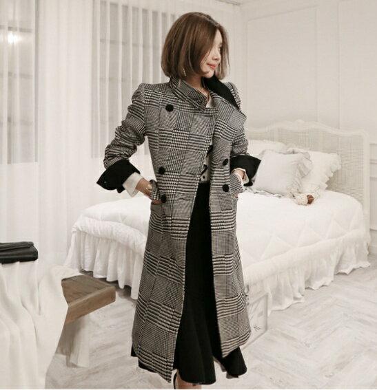依果 IMS輕時尚 韓國流行 外套 中長版外套 毛呢外套 大衣 立領 雙排扣 千鳥格紋 顯瘦 現貨+預購