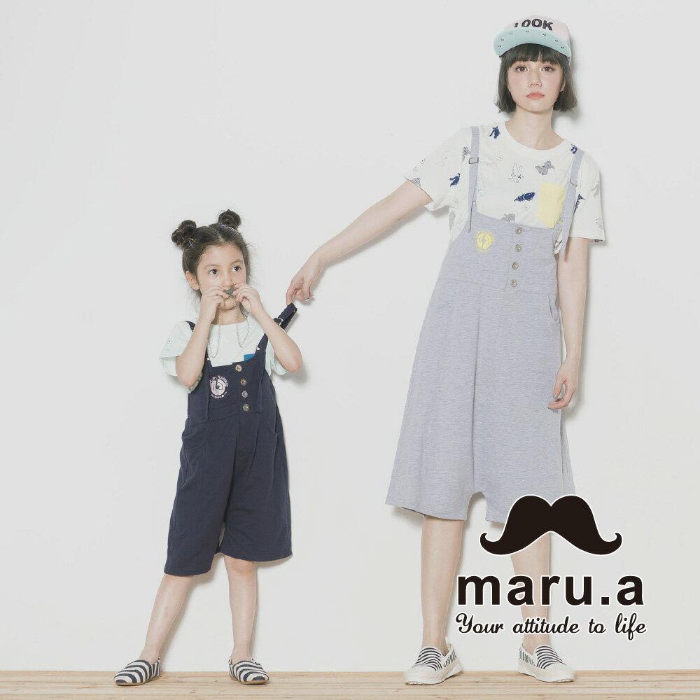 【maru.a】親子裝鶴刺繡低檔5分吊帶褲7315218 0