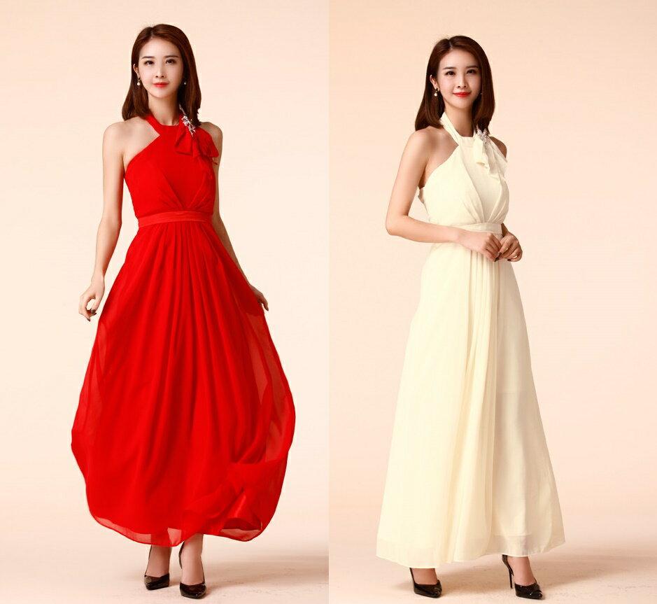 天使嫁衣【J2K9959】2色中大尺碼削肩顯瘦長裙宴會晚禮服˙預購訂製款