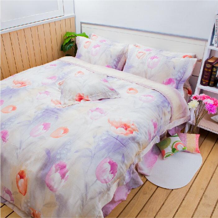 【名流寢飾家居館】純情鬱金.100%天絲.超柔觸感.標準雙人床罩組全套