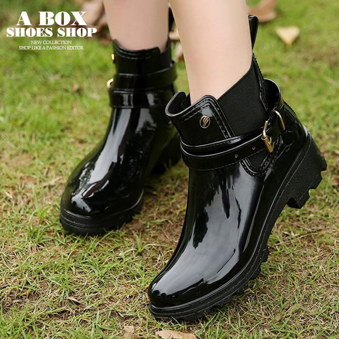 【AR610】晴雨兩穿2ways 超防水 韓版質感亮面PVC 金屬扣環 中粗跟雨鞋 / 雨靴 馬丁靴 機車靴 黑色 0