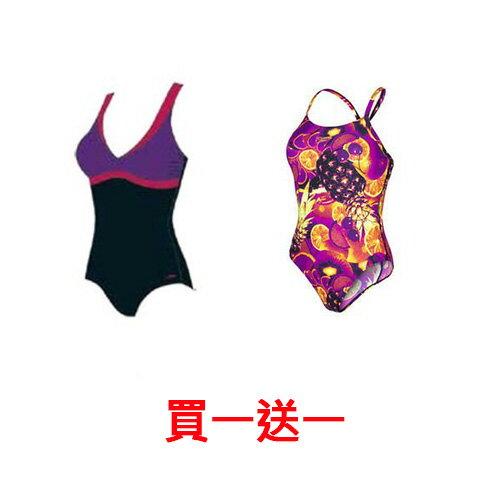 SPEEDO女人美型連身U背泳裝SD810387A780黑-紫+SD810386A576黑-紫