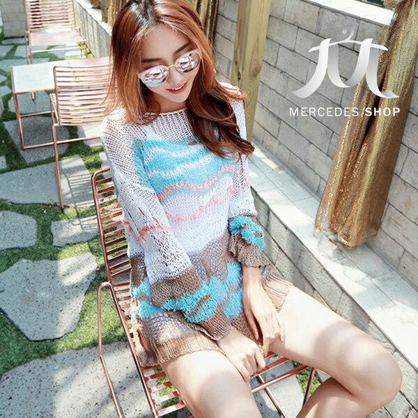 梅西蒂絲Mercedes Shop:《早秋新品5折》彩色拼接網眼鏤空薄款長袖針織衫-梅西蒂絲(現貨+預購)