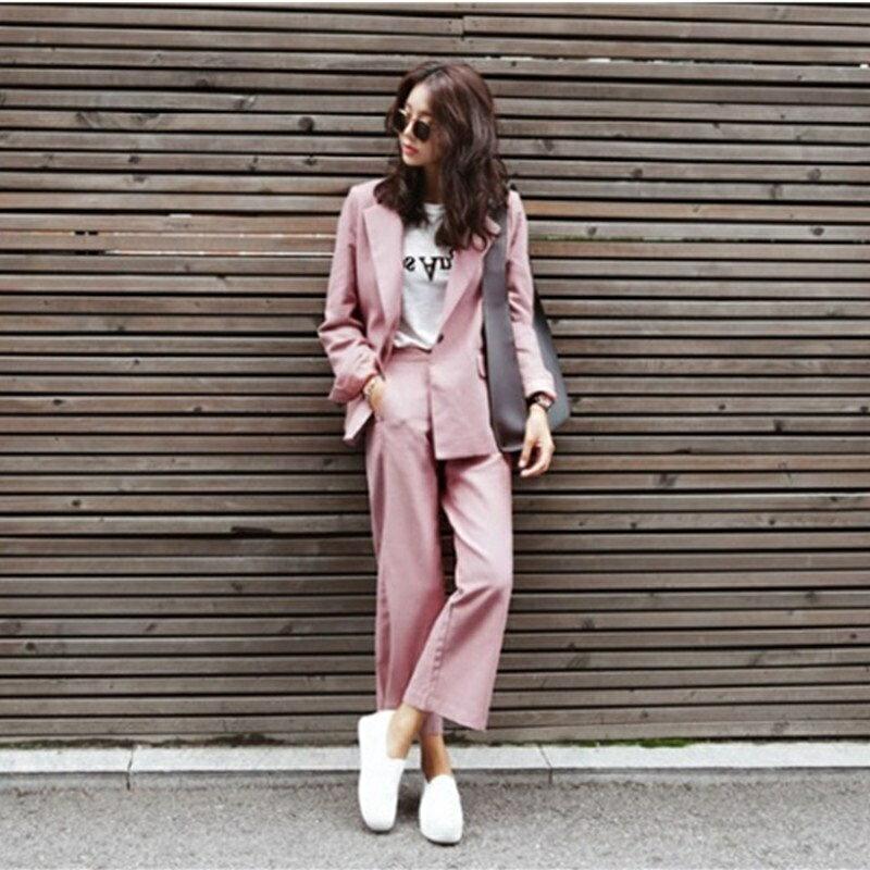西裝套裝西裝外套+長褲(兩件套)-粉色休閒寬鬆闊腿褲女西服73xs27【獨家進口】【米蘭精品】