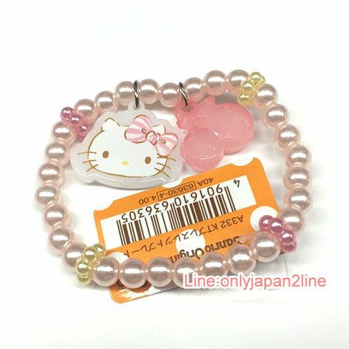 【真愛日本】17040600035 造型墜飾手環-KT珍珠櫻桃粉AAI 三麗鷗 Kitty 凱蒂貓 飾品 手鍊