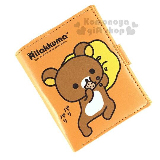 〔小禮堂〕懶懶熊 皮質扣式短夾《橘.側躺.啃餅乾》可愛又實用