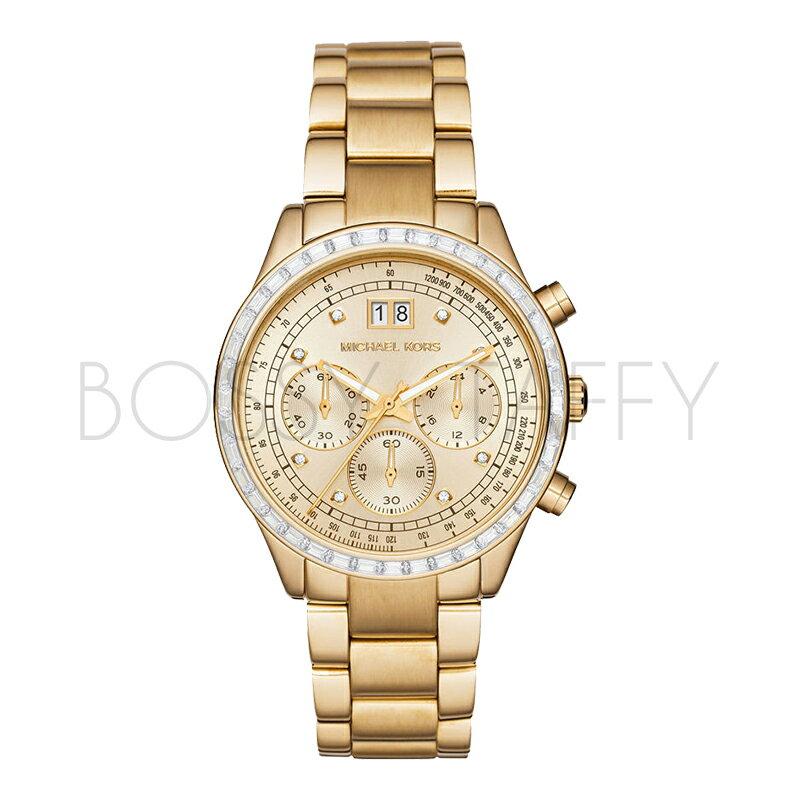 MK6187 MICHAEL KORS 經典金色精鋼錶帶腕錶 三眼錶 錶圈鑲鑽女錶
