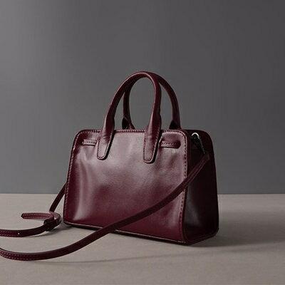 肩背包真皮手提包-紫色蝴蝶結牛皮方型女包包73ut42【獨家進口】【米蘭精品】 1