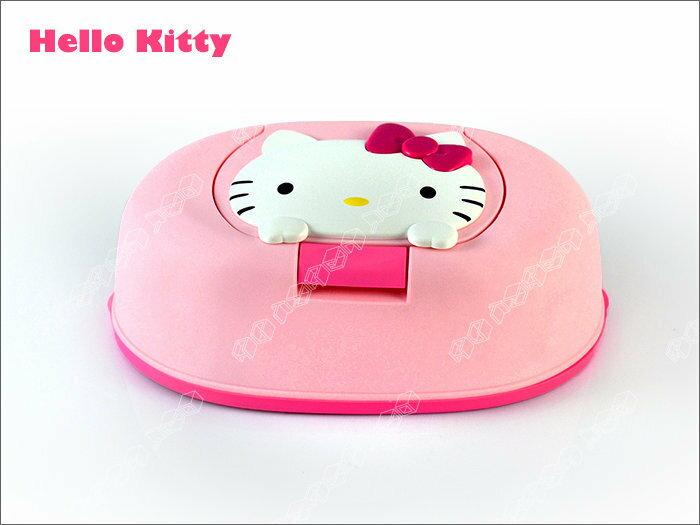 快樂屋? 日本製 全新正版原裝*HELLO KITTY 凱蒂貓紙巾盒 附濕紙巾1包~面紙盒可重複使用.大人小孩可用