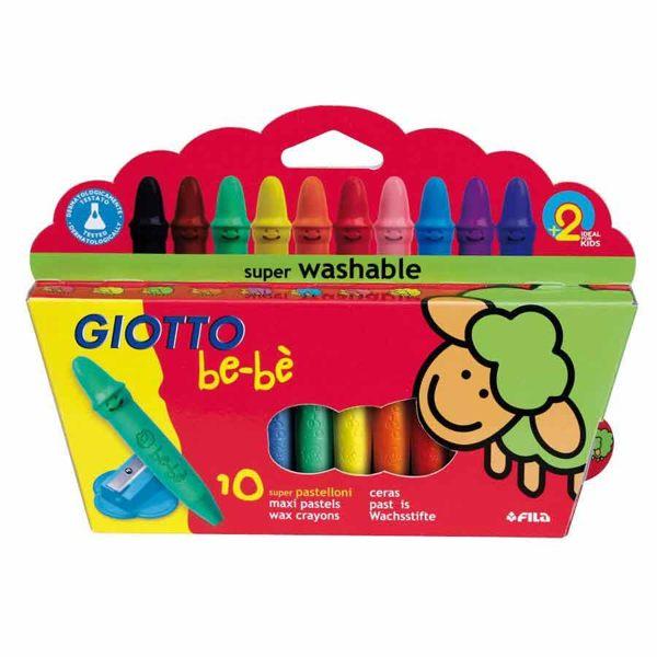 義大利GIOTTO 寶寶不沾手胖蠟筆(10入)附削筆器