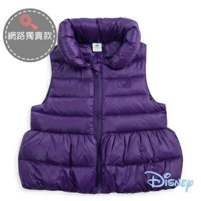 Disney 繽紛暖暖花苞衣襬輕羽絨背心-紫色