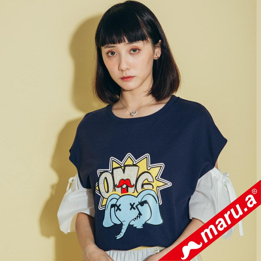 【maru.a】OMG小飛象露肩拼接袖T-Shirt(2色)8311219 0