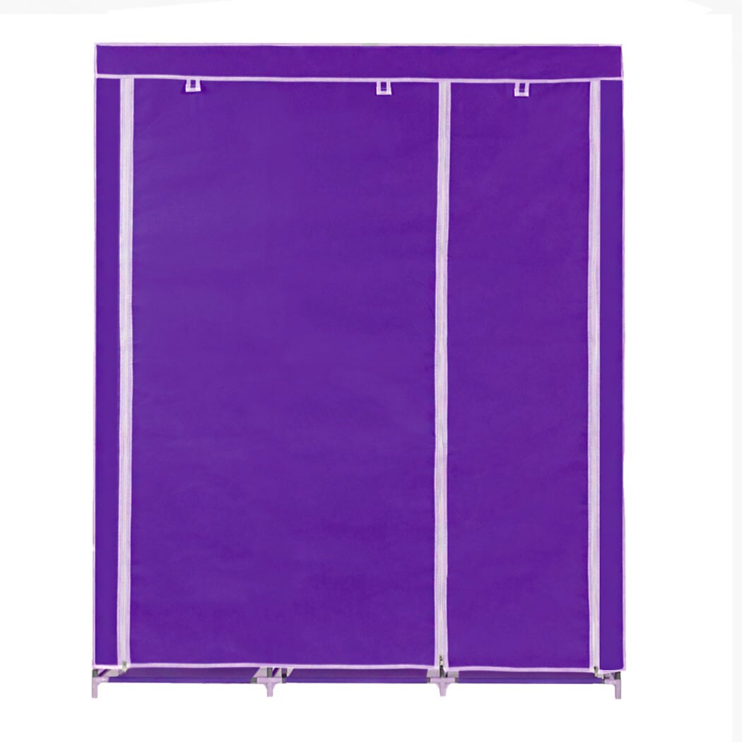Home DIY Portable Closet Wardrobe Clothes Rack With Hanger 2