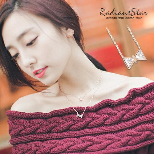 韓國舞動星鑽蝴蝶結鈦鋼鎖骨鍊~N052~璀璨之星~ ~  好康折扣