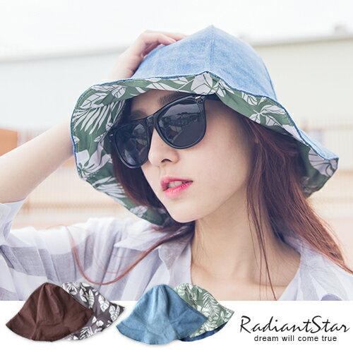 韓國可折易攜大瓣遮陽雙面扶桑花漁夫帽【C035】璀璨之星☆
