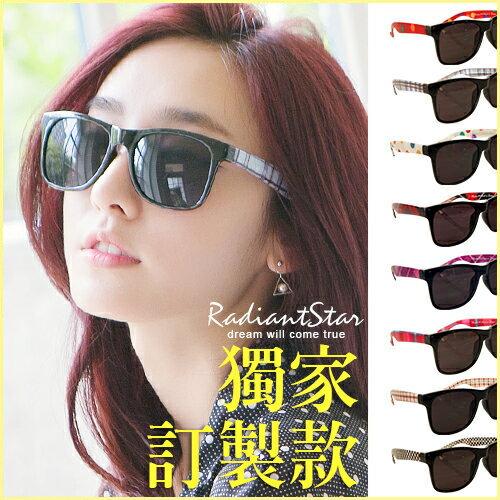MIT台製  訂製款沁涼一夏POP普普風圖案鏡腳墨鏡  太陽眼鏡  UV400~URS93