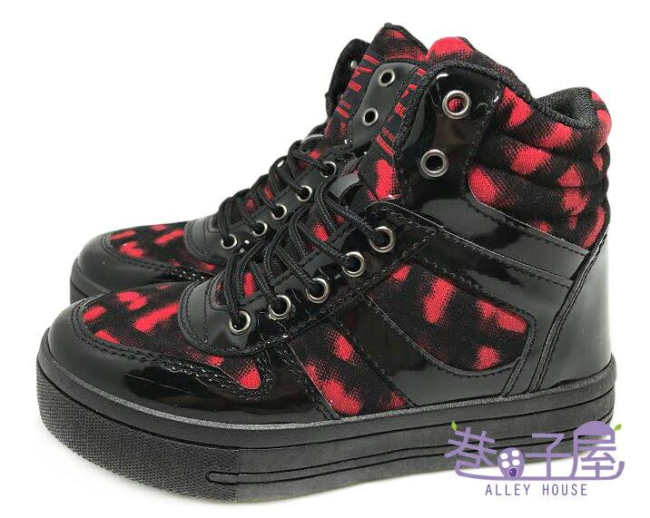 【巷子屋】T-EGO 女款街頭搖滾風3.5cm厚底滑板鞋 休閒鞋 [7455] 黑紅 MIT台灣製造 超值價$198