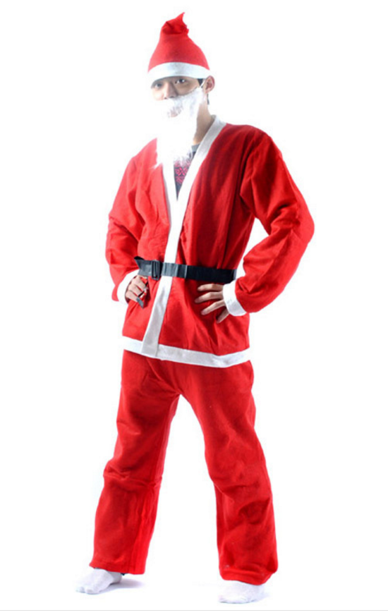 東區派對-聖誕節服裝/老公公服裝/紅色聖誕服/不織布聖誕老公公五件組